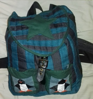 Finished penguin rucksack