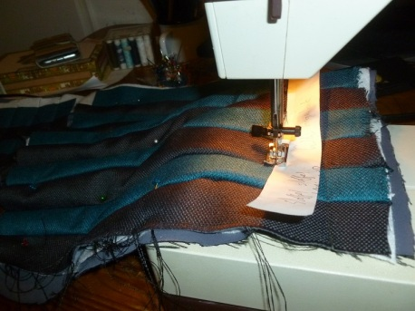Machine quilting the sides of the back