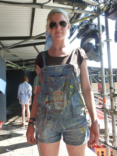 Dungarees used for the turtle bookbag