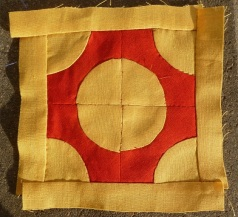 Block C-11 of the Dear Jane sampler quilt named 'soldiers and sailors monument'.
