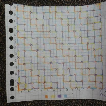 Arrangement colour sashing between the squares