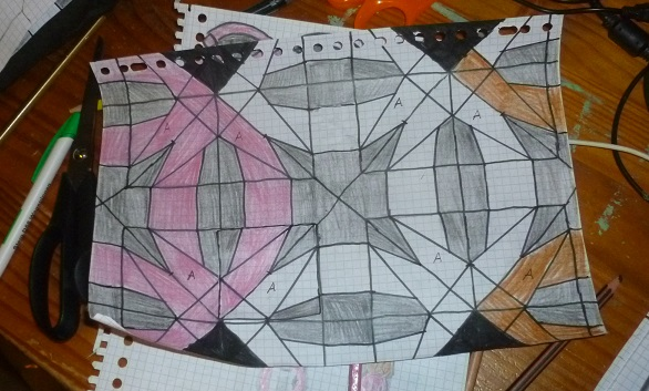 Drawing pattern double wedding ring quilt