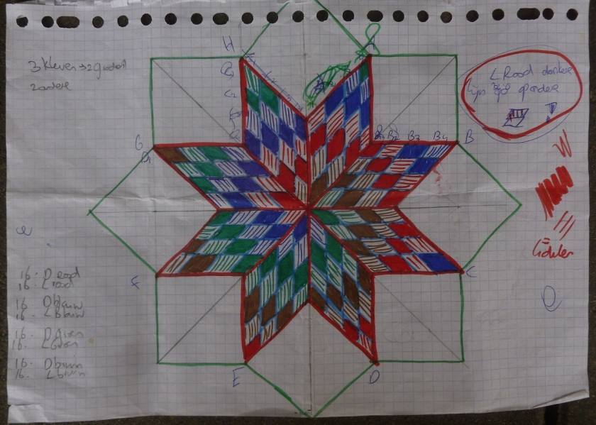 Drawing spiral lone star quilt