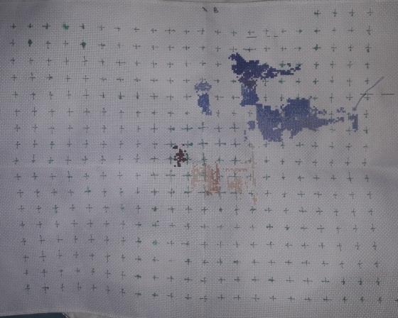 Hot air balloon cross stitch WIP