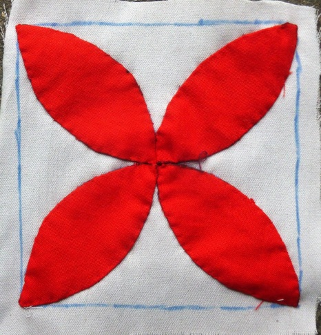 Dear Jane quilt block E-1: Aunt Exie's phlox