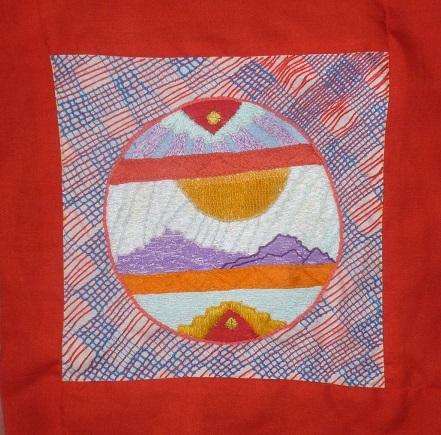 Crewel embroidery mountain landscape
