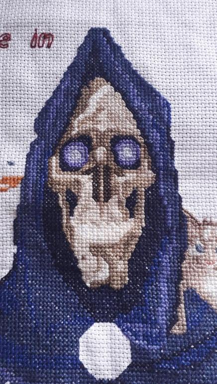 Discworld cross stitch Lyndisfarne