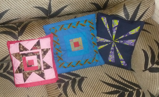 Quilted Kitenge fabric pillows