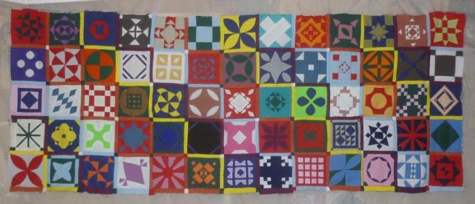 Top five rows Dear Jane quilt sampler