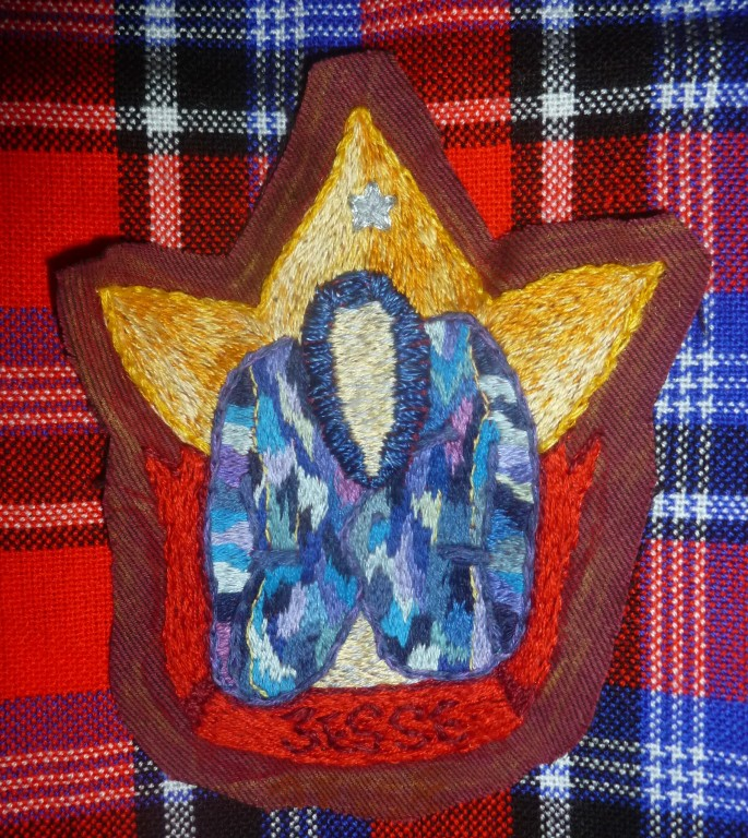 Embroidery patch coat of many colours