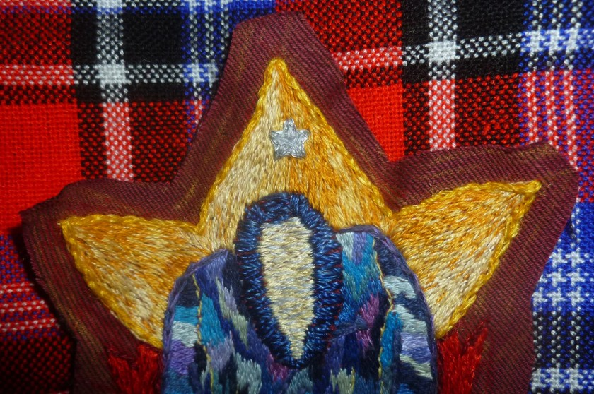 Star detail Coat of Many Colours Embroidery