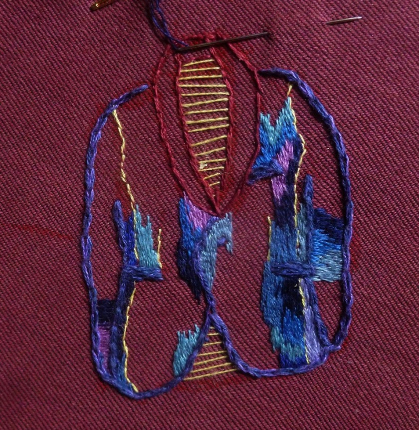 Start embroidery Coat of Many Colours